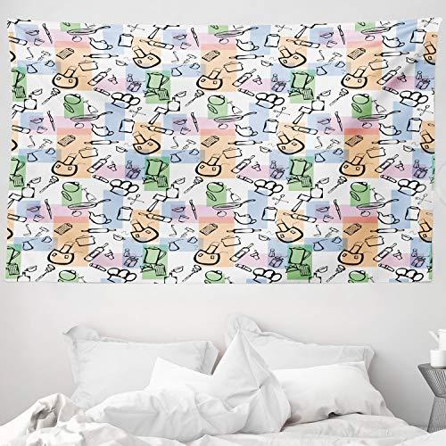 ABAKUHAUS Astratto Tappeto da Parete e Copriletto, Roba da Cucina Cuisine, Colori Che Non sbiadisce, 230 x 140 cm, Multicolore