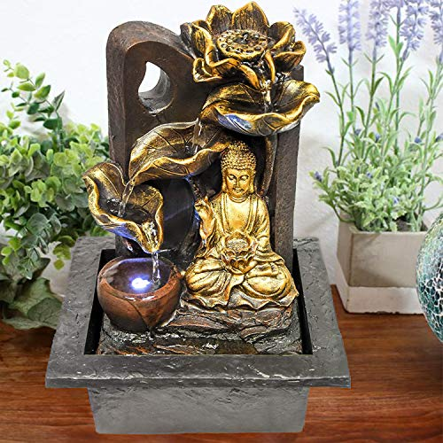 GEEZY Indoor Tabletop Fountain Water Feature LED Lights Polyresin Statues...