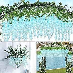 IMIKEYA 12 Pieces Wisteria Artificial Flower 3.25 Feet Wisteria Vine Ratta Hanging Garland Silk Fake Wisteria Flowers String for Wedding Party Home Garden Decor, Blue