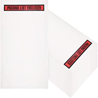 Packing List envelopes 5.5 x 10 Document mailers 5 1/2 x 10 by Amiff. Pack of 100 2 mil Thick envelopes. Red Panel Face