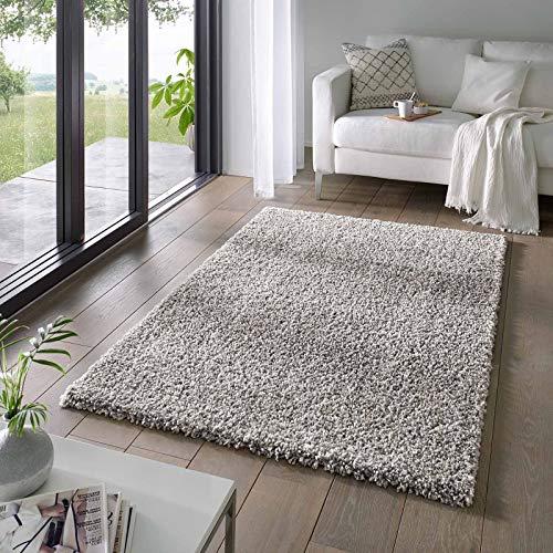 Taracarpet Shaggy Teppich Wohnzimmer Venezia Hochflor Langflor Teppiche modern Grau 160x230 cm