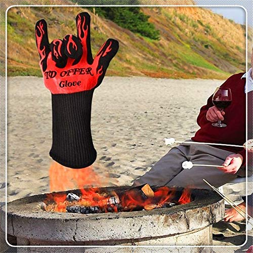 ZTH 2 Layer Fire Protection Portable Silicone Anti-skidding High Temperature Resistance Cooking Baking Barbecue Gloves