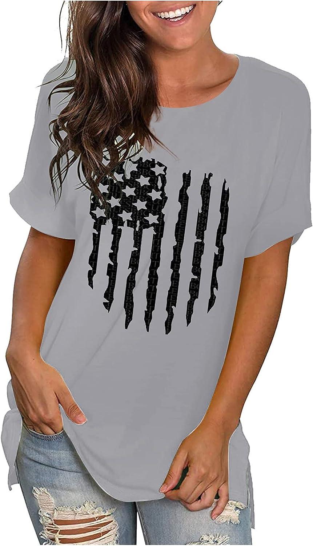 Sayhi Women Summer Basic TeeTops Print O Neck Short Sleeve Printed Blouse Tops Clothes T Shirt