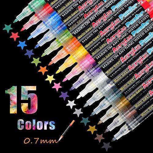 EKKONG Steine Bemalen Stifte, 15 Farben Acrylstifte Marker Stifte 0.7mm Feine Spitze Wasserfest Paint Markers für Holz, Steine, Leinwand, Metall, Kunststoff, Keramik