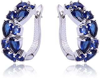 Dazzling Rhodium Plated Round Pear Cut Flawless Cubic Zirconia Claw Small Hoop Earrings
