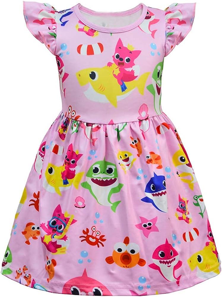 LZJLSQHYH Baby Girls Shark Cartoon Print Dress Toddle Girls Nightgown Princess Dress Up