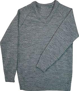 ND Sports Kid's Plain V-Neck Full Sleeve Jumper for 11-12 Years UK, Grey