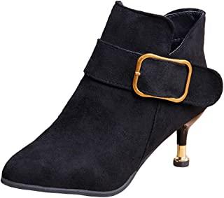 Warm Winter Pointed Toe Retro Buckle Flock Shoes Boots Ankle Wedge Heel Booties Shoes
