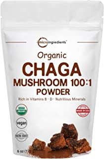 Sustainably Maine Grown, Wild Harvest Organic Chaga Mushroom Extract 100:1 Powder, 6 Ounce (170 Grams), for Immune System ...