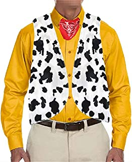 PASLTER Mens Cow Print Vest Adult Festival Vintage Hippie Costume Vests Unisex Novelty Sleeveless Waistcoat Halloween