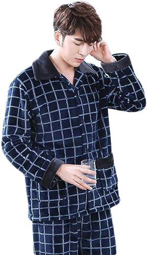 DAFREW Pyjamas Chauds en Flanelle épaisses l'hiver, vêteHommests de Maison à voiturereaux Hommes, très Bons Pyjamas (Couleur   Bleu, Taille   L)