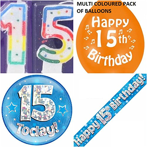 15th Birthday Party Set boys. Age 15 Boy kit (Banner, Balloons, Candle, Badge)
