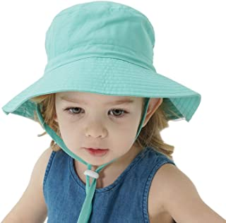 UPF 50+ Baby Sun Hat Bucket Adjustable Kids Summer Outdoor Beach Hat Protection with Drawstring Wide Brim for Toddler Boys...