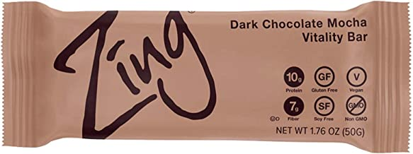 Zing Plant-Based Protein Bar | Dark Chocolate Mocha , 12 Count | Coffee and Sunflower Seed Butter | 10g Protein and 7g Fib...