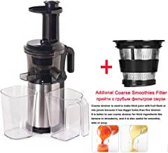 200W 40RPM Stainless Steel Masticating Slow Auger Juicer Fruit and Vegetable Juice Extractor Compact Cold Press Juicer Machine,With Coarse Strainer,220-240V 50 60Hz