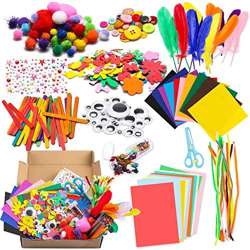 WATINC 1000Pcs DIY Art Craft Kits Kleinkinder Moderne Kids IQ Designspielzeug Crafting Gehören Pipe Cleaners, Farbe Filz Blatt, Glitter Pom Poms, Federn, Knöpfe, Pailletten Party Supplies für Kinder