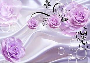 Custom Photo Wallpaper 3D Floral Purple Rose Background Moderno Simple Romántico Salón Dormitorio Diseño de pared Mural Papel @ 400 * 280cm