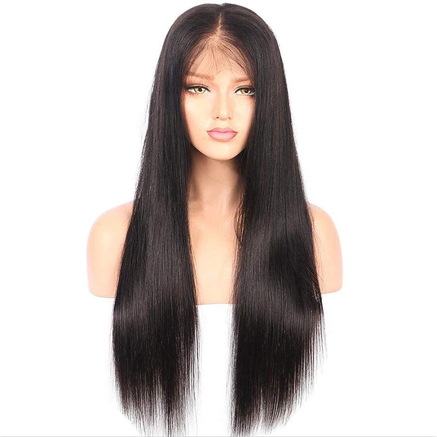 パスポートリーズ先生BOBIDYEE 女性のフロントレース合成ロングストレートウィッグセット、黒高温ファイバーウィッグ、女性のための適切な合成髪レースかつらロールプレイングかつら (色 : 黒)