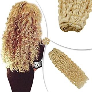 Hetto 16 Inch Clip in Hair Extensions Human Hair Blonde Natural Wavy #613 Blonde Full Head Clip in Hair Extensions Human Hair 7 Pieces 100g/set Hair Extensions Clip ins