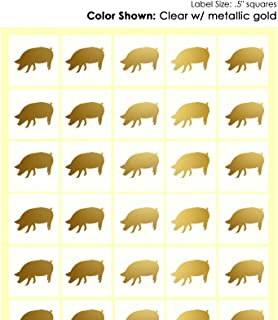 Savor The Memories Meal Stickers for Place Cards (Gold or Black) (Clear with Gold Icon, Pork)