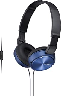 Sony MDR-ZX310AP Wired On-Ear Headphone with Mic, Blue