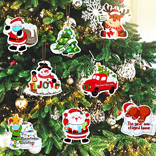32 Pieces Quarantine Christmas Ornaments 2020 Survivor Quarantine Ornament Snowman Santa Claus Toilet Paper Wooden Christmas Tree Keepsake Hanging Decor with Ropes for Xmas Christmas Party Decorations