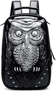 GYNSSJBB Men's Leather Backpack, Funny Animal 3d Laptop Backpack, Retro Embossed, Rivet Design, Large Capacity Waterproof, Thickened Shoulder Strap, Suitable for 11-inch Laptop, Travel, Holiday and Gi