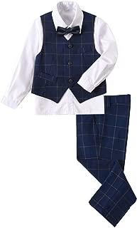 YuanLu Boys Suits 4 Piece with Vest Dress Shirt Bowtie Pants for Kids Outfit