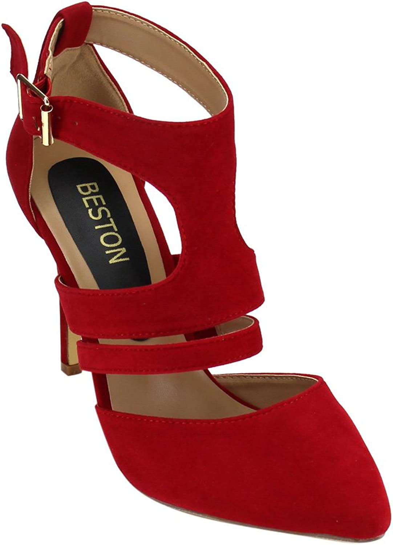 Bonnibel Vivien-1 Women's Pointed Toe Closed Back Ankle Strap Stiletto Heel Dress Pump