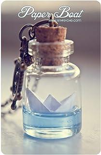 collana bottiglia barca di carta, collana barca origami, collana oceanica, collana fiala di vetro, gioielli origami, colla...