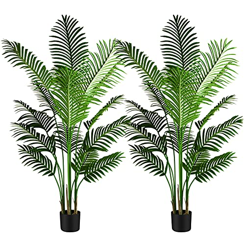 2 Pack 5.2ft Artificial Palm Tree for Home Decor Indoor and Outdoor, Faux Tree, Plastic Plants with 15 Trunks, for Office, Lounge and Patio Decoration, 5.2ft/1.6m Height