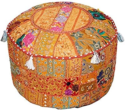 16x16x16 Kantha-Craft Indian Traditional Home Decorative Ottoman Handmade Pouf,Indian Comfortable Floor Cotton Cushion Ottoman Cover Embellished with Patch Work and Embroidery Work