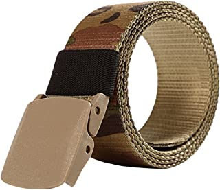 LvRao Unisex Military Style Webbing Belts Tactical Belt Camo Trouser Belt with Buckle, 1 CP