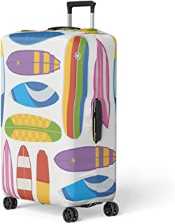 Pinbeam Luggage Cover Colorful Abstract Surfing Different Surfboards in Flat Activity Travel Suitcase Cover Protector Baggage Case Fits 26-28 inches
