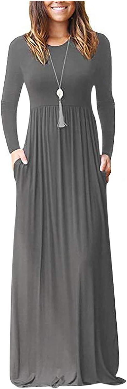 FABIURT Dresses for Women Casual,Women Long Sleeve V-Neck Wrap Waist Maxi Dress Casual Long Dresses with Pockets