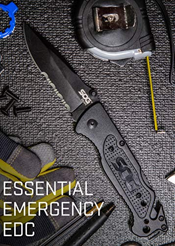 SOG Escape Tactical Folding Knife- 3.4 Inch Serrated Edge Blade Emergency Pocket Knife with Glass Breaker, Wire Stripper and Line Cutter Blades-Black (FF25-CP)