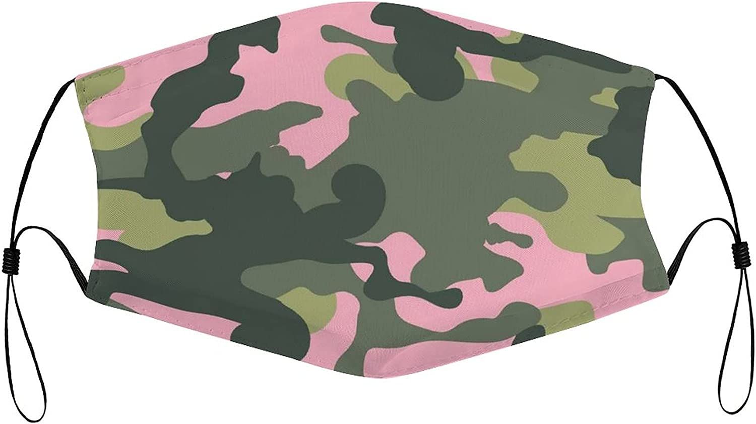 Face mask Pink and Army Green Camo Reusable with Filter Pocket Washable Face Bandanas Balaclava Dust-Proof