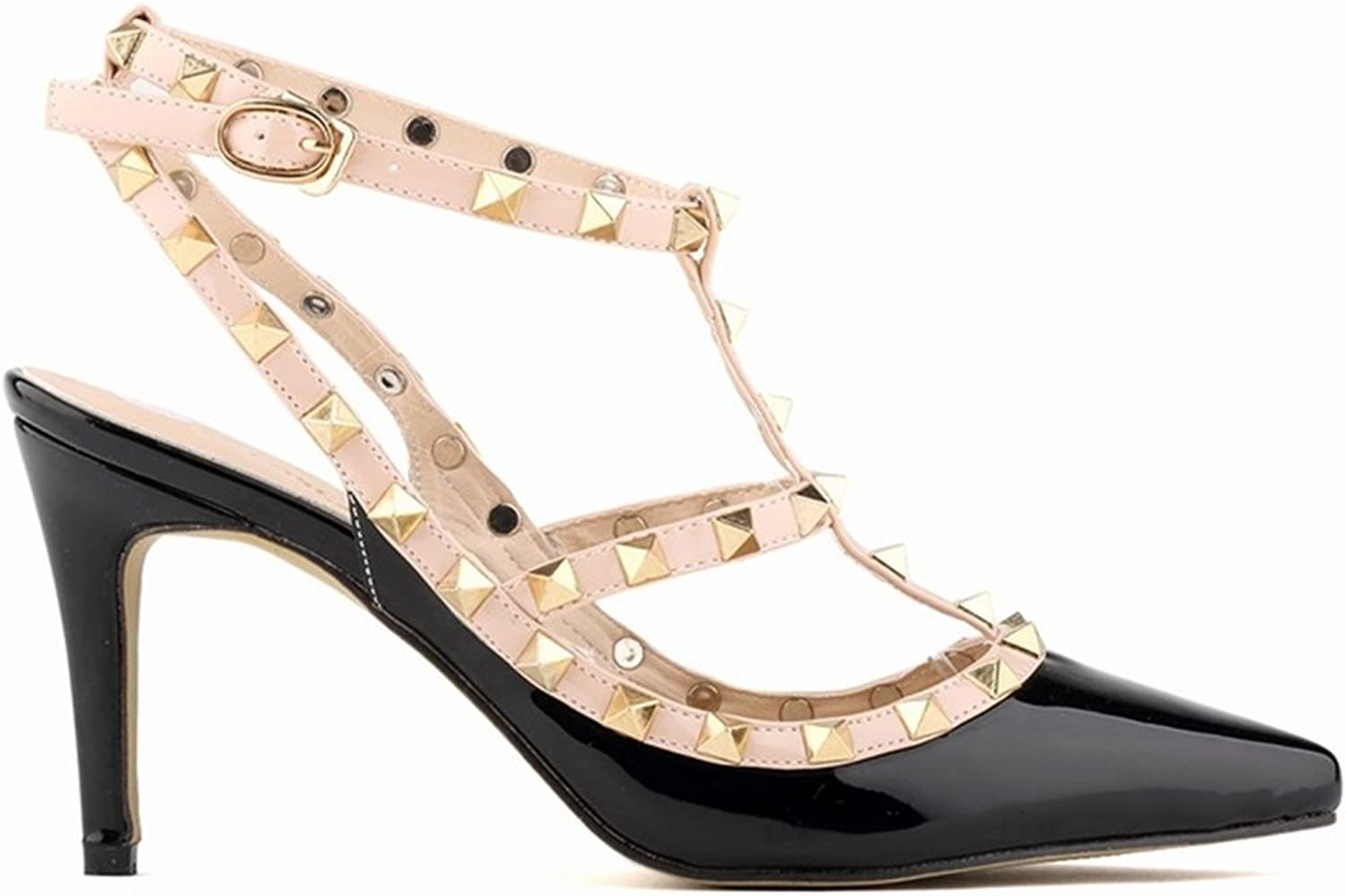 24XOmx55S99 Womens Pointy Toe gold Stud Strappy Ankle T-Strap Stiletto Heel Pump Sandal