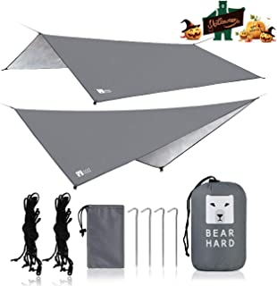 Bearhard Hammock Rain Fly Camping Tarp 10ft x 10ft/10ft x 12ft Set Up Easily and Include 6 Ropes and 4 Stakes Multicolor Lightweight Waterproof Tent Tarp Perfect for Camping, Hiking, Picnic