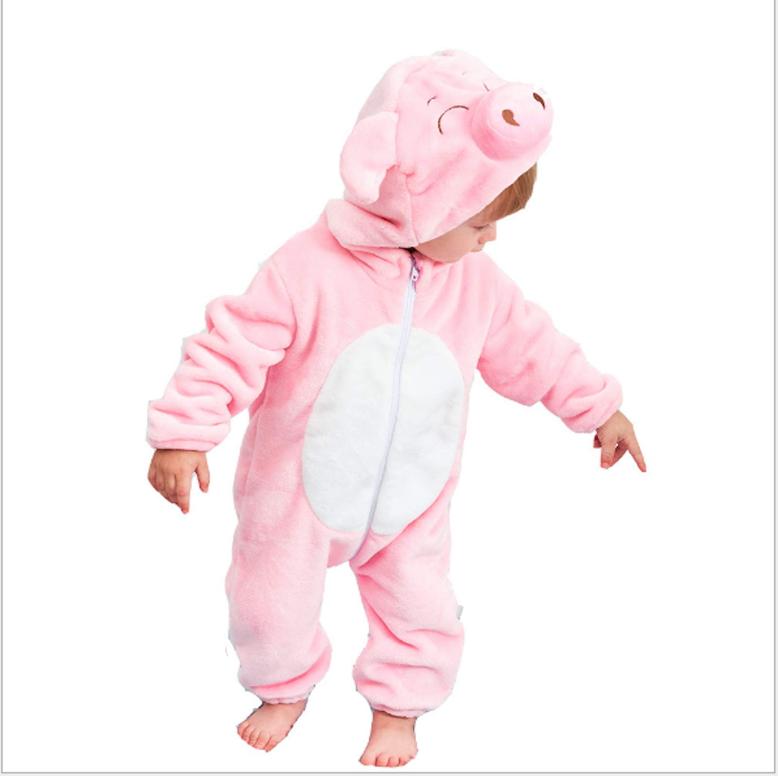 Elonglin Unisex Newborn Baby Hooded Romper Animal Flannel Snowsuit Christmas