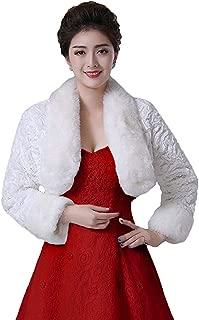 Women's Winter Faux Fur Wedding Jacket for Bride Wrap Shawl Bolero Jacket