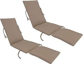 kingrattan.com Made in USA Steamer Chair Cushion Sunbrella Canvas Heather Beige (2-Pack)