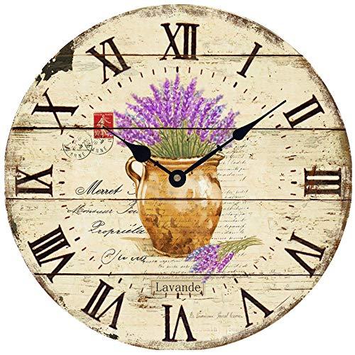 HUABEI 30 CM Horloge Pendule Murale Silencieuse Style Vintage Fleur Lavande Parfait pour Cuisine Salon et Office