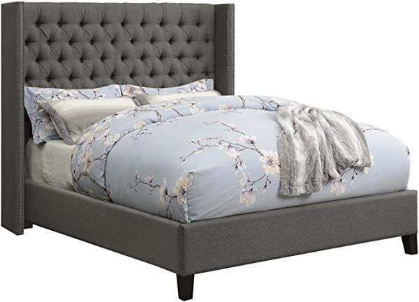 Benicia Upholstered California King Bed With Demi Wings And Button Tufting Grey
