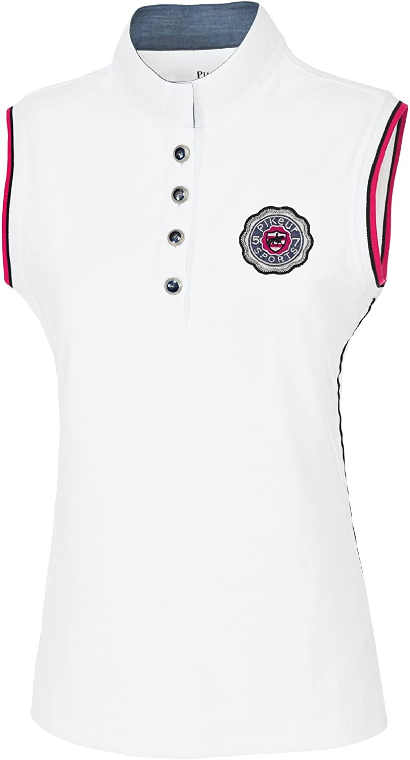 Pikeurladies sleeveless competition shirt with elaborate buttons