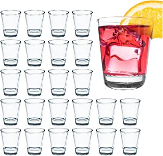 LULULOVE Shot Glass Set with Heavy Base, 1.5 Ounce Shot Gl, 24 Pack Clear Shot Glass