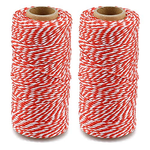 Red and White Twine String,Christmas Twine,656 Feet Cotton Bakers Twine,Packing String,for DIY Crafts & Gift Wrapping
