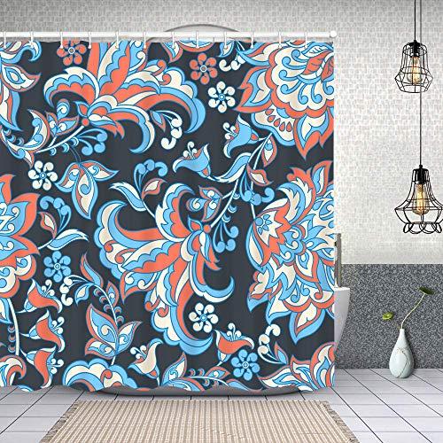 Blived Duschvorhang,Vintage Batik indischen Batik Stil Blumen,Waschbar Shower Curtains Wasserdicht & mit 12 Ringe Bad Vorhang 180x180cm