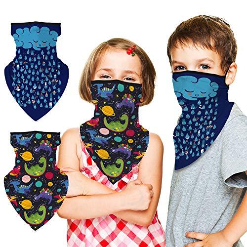 Fengzio Multifunktionstuch Kinder Schlauchschal mit Ohrschlaufen, 2 Pack Bandana Atmungsaktive Schal Mundschutz Kinder UV Sonnenschutz Windschutz Mundschutz Tuch für Mädchen Junge