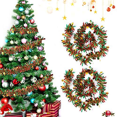 Sunshine smile 2 PCSWeihnachten Lametta Girlande,Metallische Girlanden,Glänzend Weihnachtsbaum Ornamente,Weihnachten Lametta,Weihnachten Girlande Metallisch,Festliches Weihnachten Lametta(Farbe)